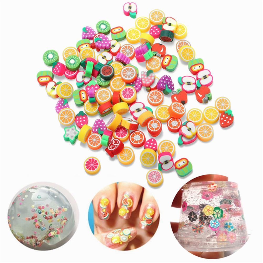 pottery-clay-tools 100PCS DIY Slime Accessories Decor Fruit Cake Flower Polymer Clay Toy Nail Beauty Ornament HOB1203350