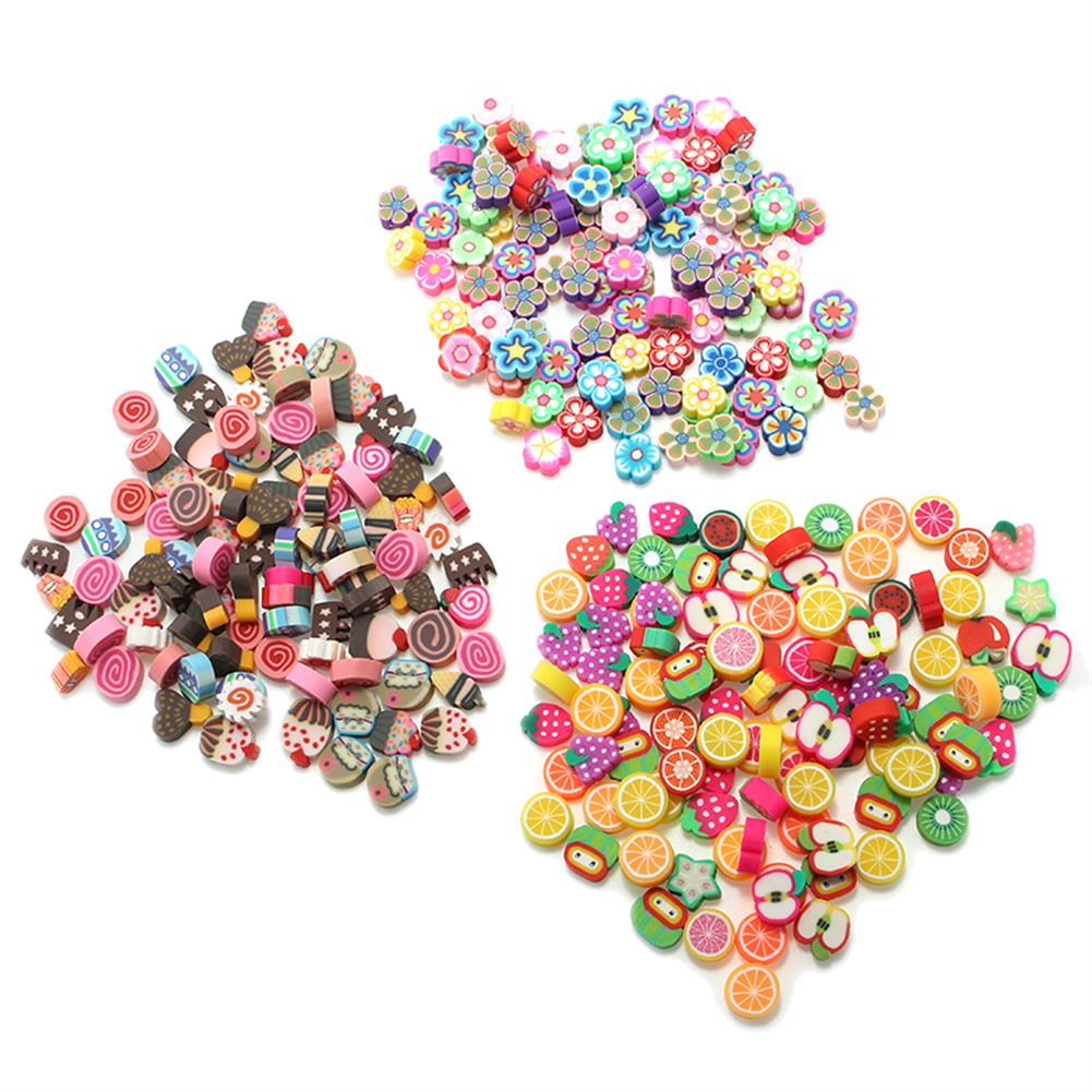 pottery-clay-tools 100PCS DIY Slime Accessories Decor Fruit Cake Flower Polymer Clay Toy Nail Beauty Ornament HOB1203350 1