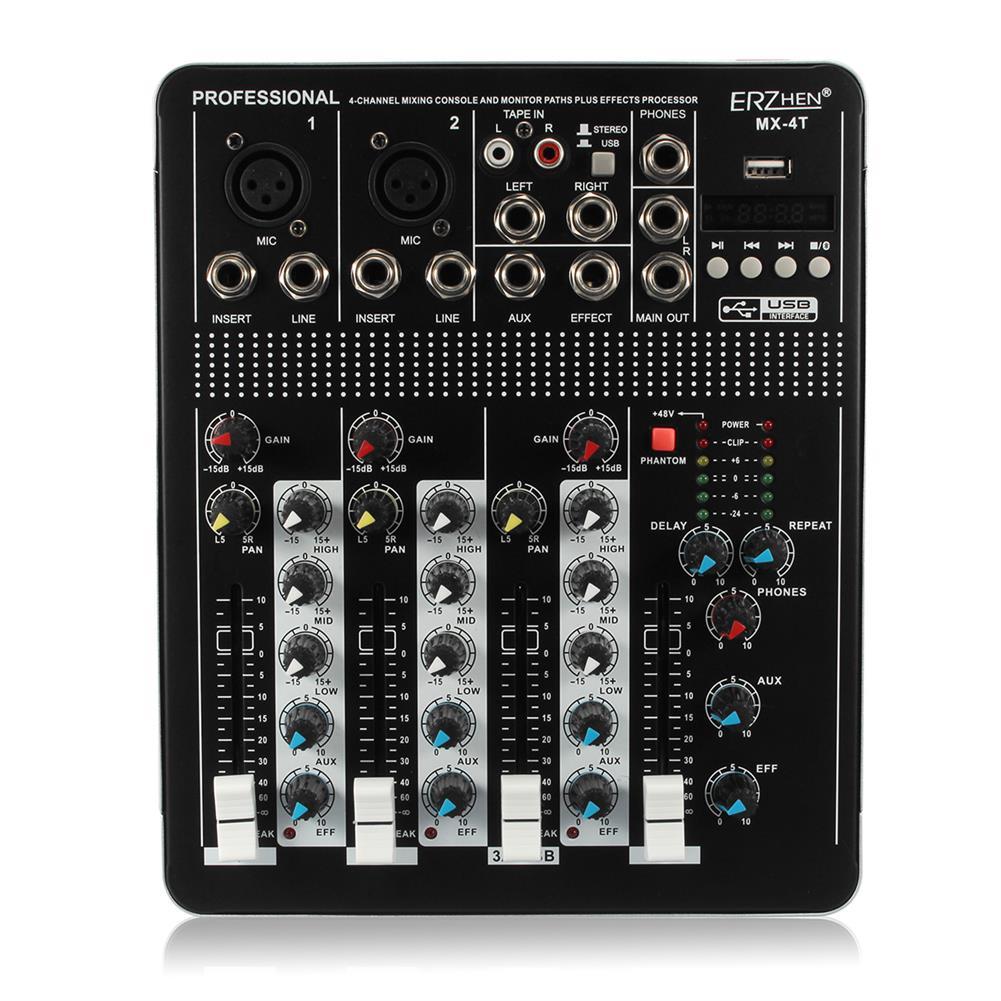 dj-mixers-equipment 110V 4 Channel Professional Live Studio Audio Mixer USB bluetooth Mixing Console HOB1207803