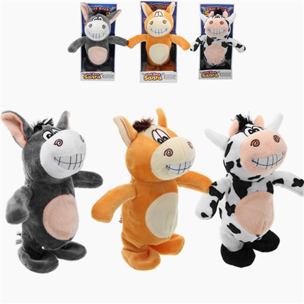 stuffed-plush-toys 20cm Talking Donkey Sound Record Stuffed Animal Plush Cow Walking Electronic Moving Doll HOB1210428