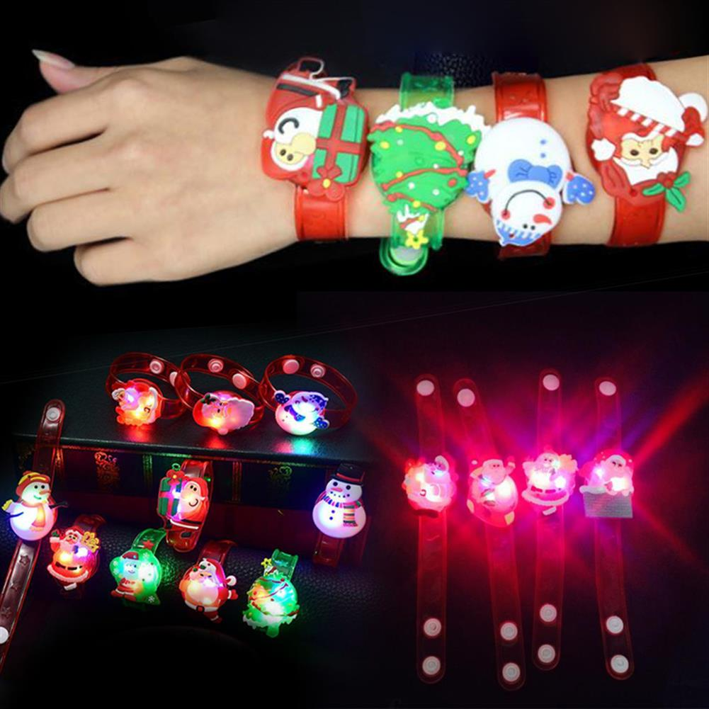 decoration Christmas Gift Luminous Wrist Band Cartoon LED Flash Bracelet for Kids Presents Decoration Toys HOB1210806