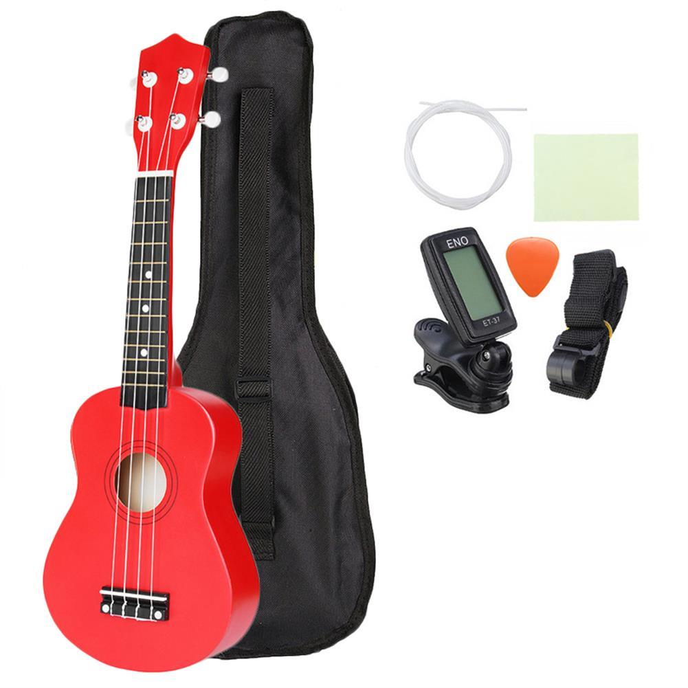 ukulele 21 inch Basswood Soprano Ukulele with Gig Bag Tuner Red HOB1211627
