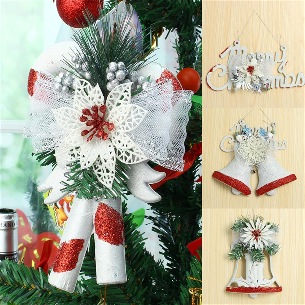 decoration Christmas Party Home Decoration White Hand Painted Tree Ornament Pendant Door Hanging Kids Gift HOB1215365 2