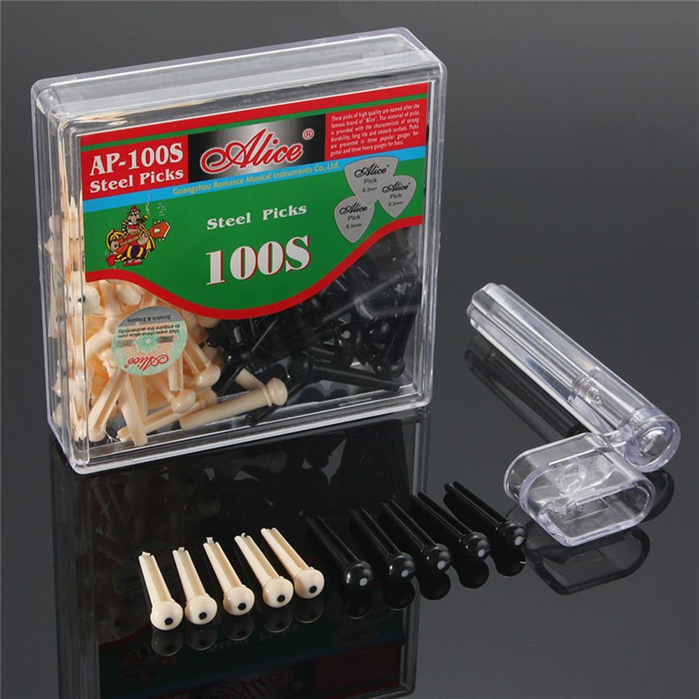 guitar-accessories 100pcs Guitar String Bridge Pins Cones Repair Kit Winder with Box HOB1219600