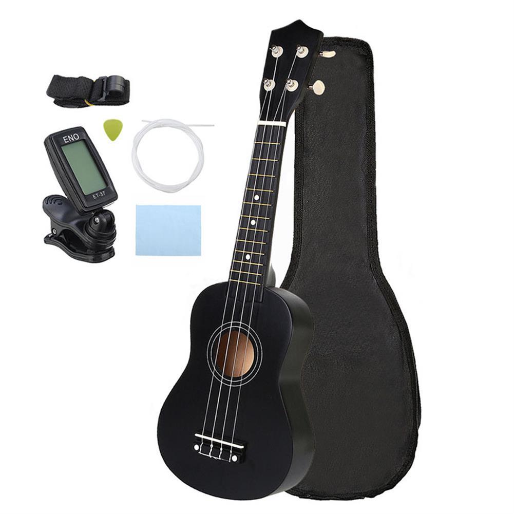 ukulele 21 inch Economic Soprano Ukulele Uke Musical instrument with Gig bag Strings Tuner Black HOB1225063
