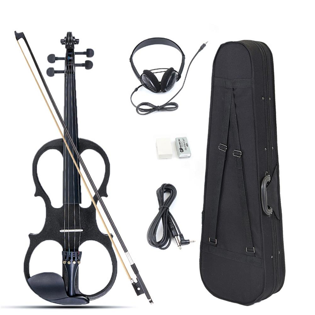 violin 4/4 Electric Violin Full Size Basswood with Connecting Line Earphone & Case for Beginners HOB1225065