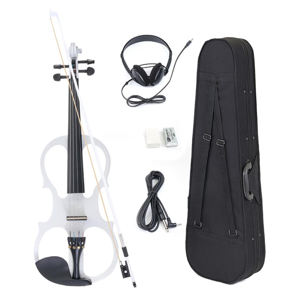 violin 4/4 Electric Violin Full Size Basswood with Connecting Line Earphone & Case for Beginners HOB1225065 1
