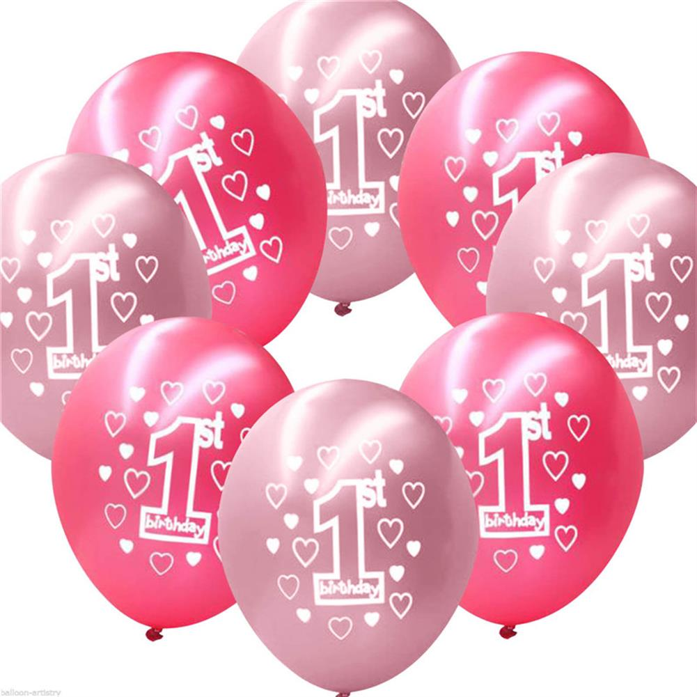 inflatable-toys 10 Per Set Pink Girl 1st Birthday Printed Pearlised Balloons Christmas Decoration HOB1230452