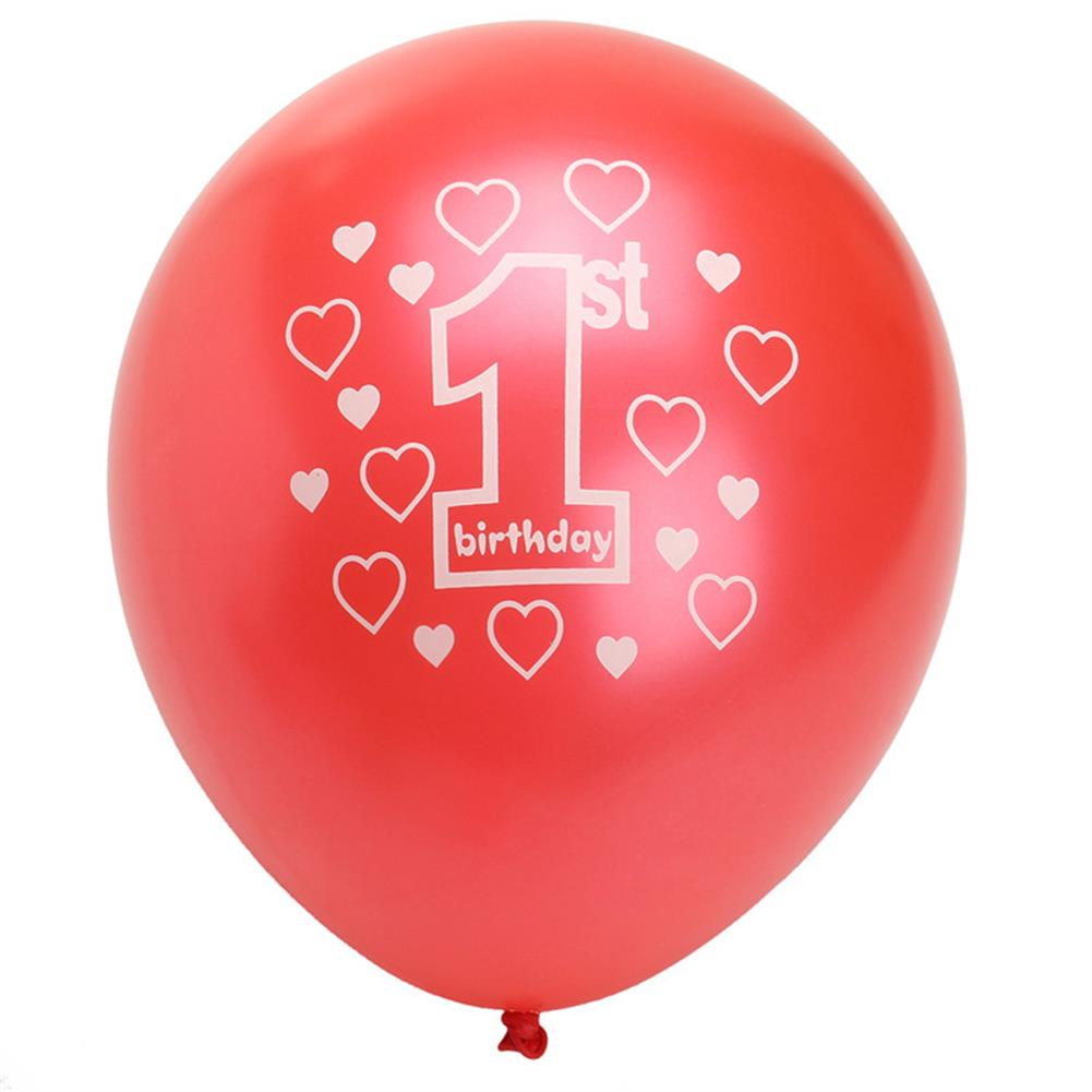 inflatable-toys 10 Per Set Pink Girl 1st Birthday Printed Pearlised Balloons Christmas Decoration HOB1230452 1
