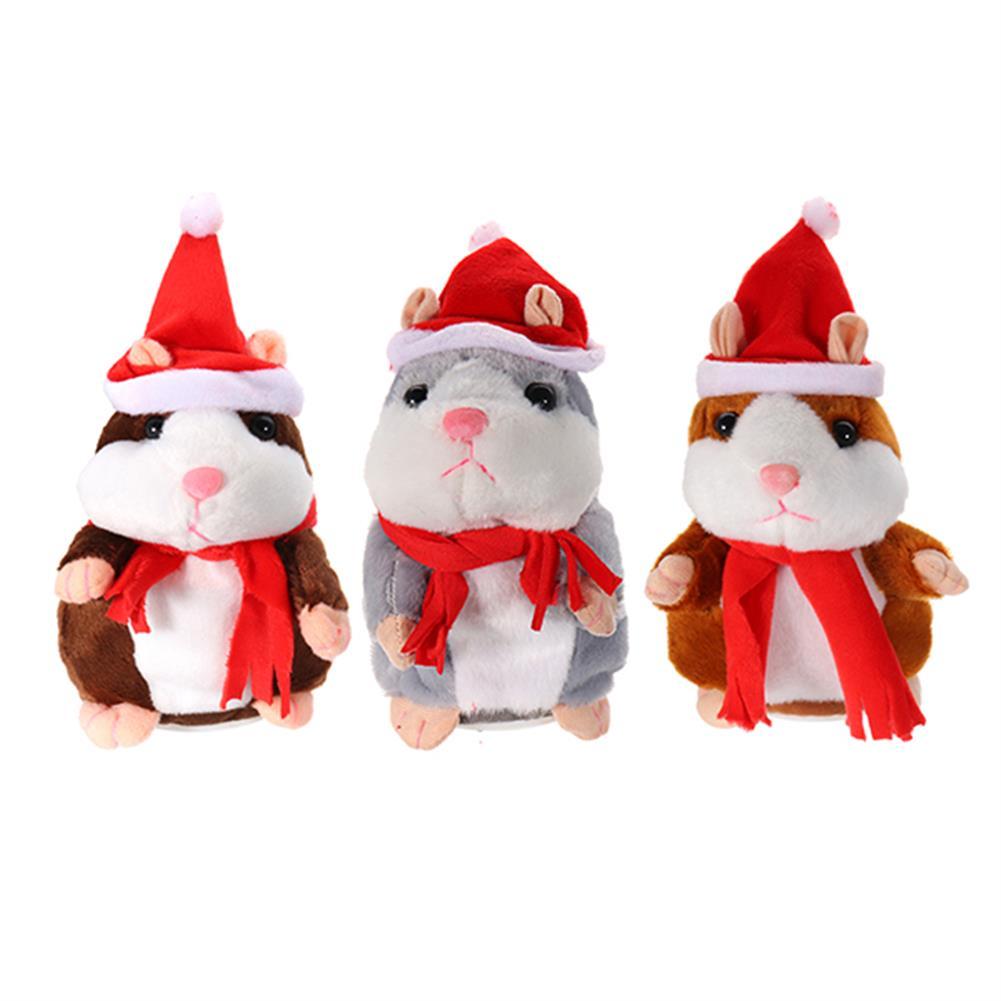 stuffed-plush-toys 18CM Lovely Talking Hamster Christmas Plush Toy Speak Talking Sound Record Hamster Talking Toys HOB1234170