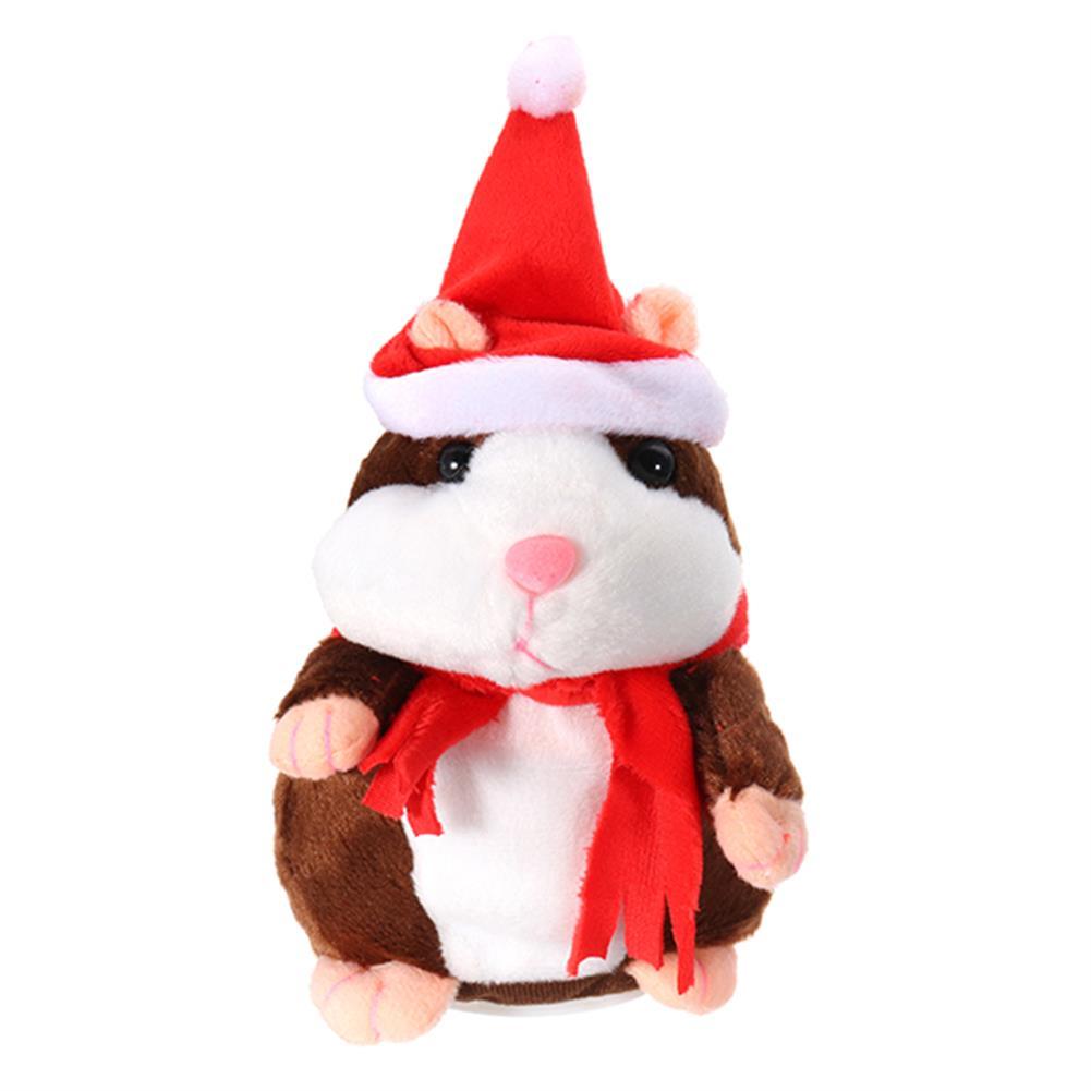 stuffed-plush-toys 18CM Lovely Talking Hamster Christmas Plush Toy Speak Talking Sound Record Hamster Talking Toys HOB1234170 1