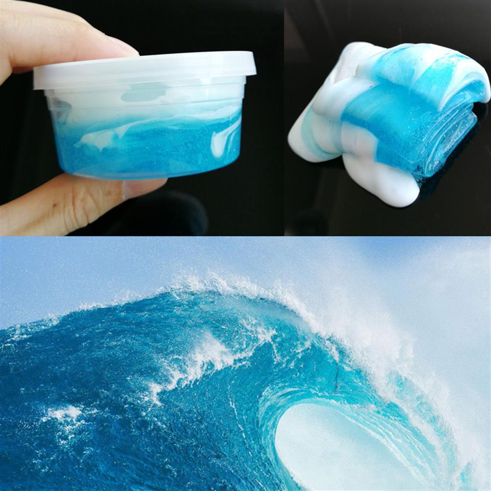 pottery-clay-tools 120ML Sea Wave DIY Style Fluffy Slime Light Modeling Polymer Clay No Borax Antistress Toy HOB1241231