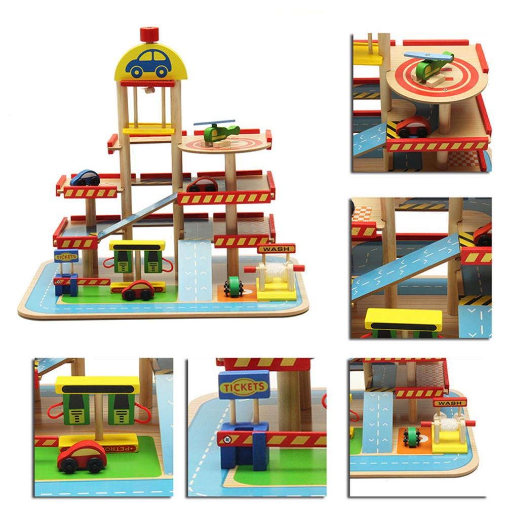 blocks-track-toys Assembling Simulation Large Stereo 3 Layer Wooden Car Parking Lot Track Set for Kids Toys Gift HOB1243291