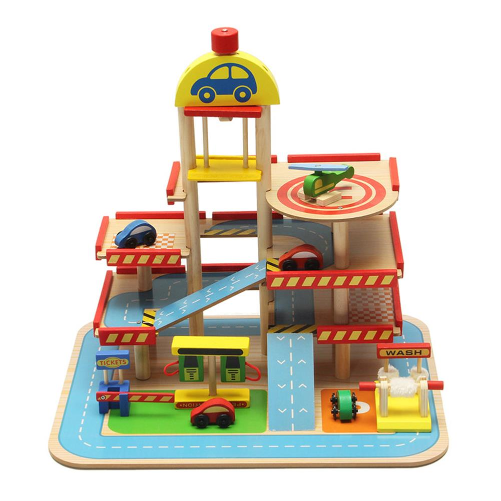 blocks-track-toys Assembling Simulation Large Stereo 3 Layer Wooden Car Parking Lot Track Set for Kids Toys Gift HOB1243291 1