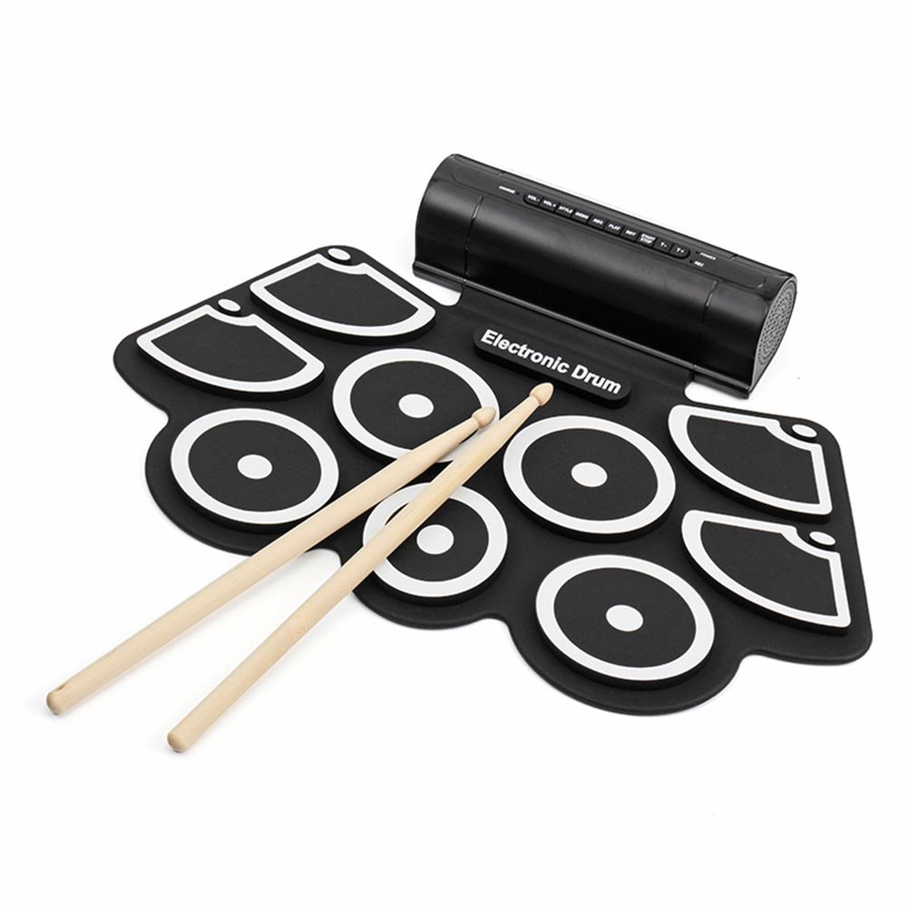 electronic-drums KONIX MD760L Portable USB 9 Pads Roll Up Electronic Drum with Built-in Battery Drum Sticks HOB1243481