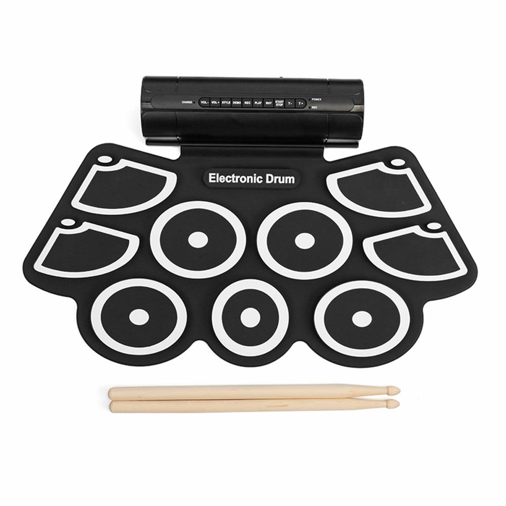 electronic-drums KONIX MD760L Portable USB 9 Pads Roll Up Electronic Drum with Built-in Battery Drum Sticks HOB1243481 1