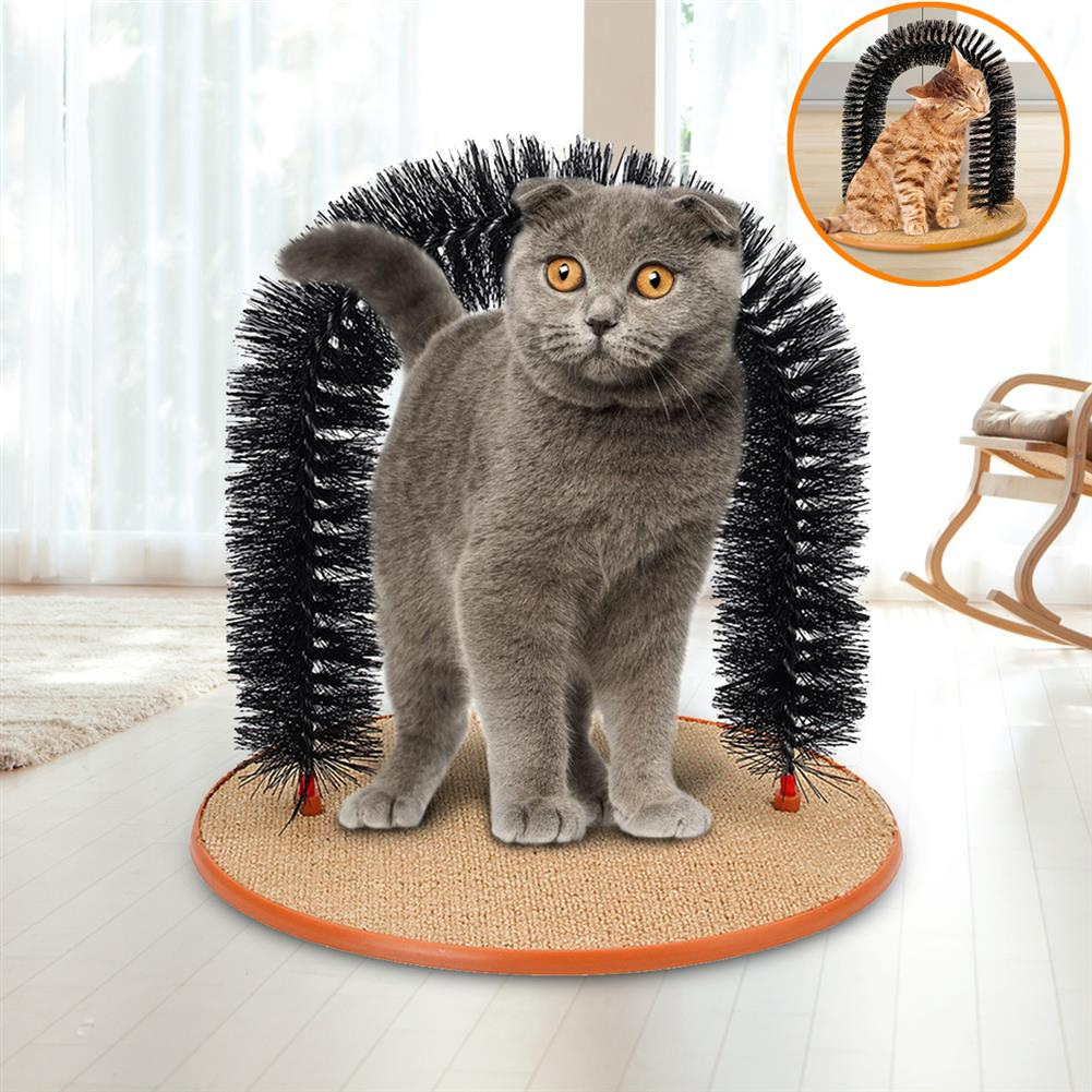 puzzle-game-toys Pet Cat Arch Hair Grooming Scratcher Toy Self-Groomer Toys Massage HOB1247535 1