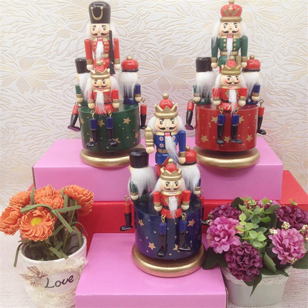 music-box Wooden Guard Nutcracker 4 Soldier Toy Music Box Christmas Decor Christmas Gift HOB1265792