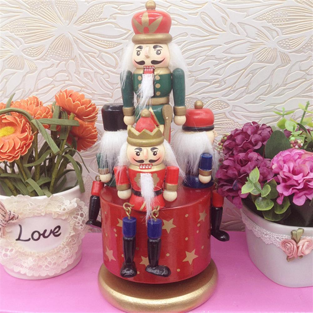 music-box Wooden Guard Nutcracker 4 Soldier Toy Music Box Christmas Decor Christmas Gift HOB1265792 2