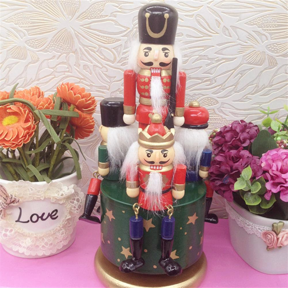 music-box Wooden Guard Nutcracker 4 Soldier Toy Music Box Christmas Decor Christmas Gift HOB1265792 3