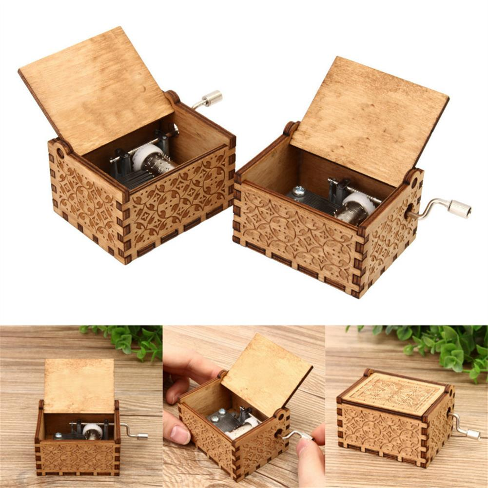 music-box Hand Crank Collectible Music Box Engraved Wooden Box theme Toys Birthday Craft Gifts HOB1268009