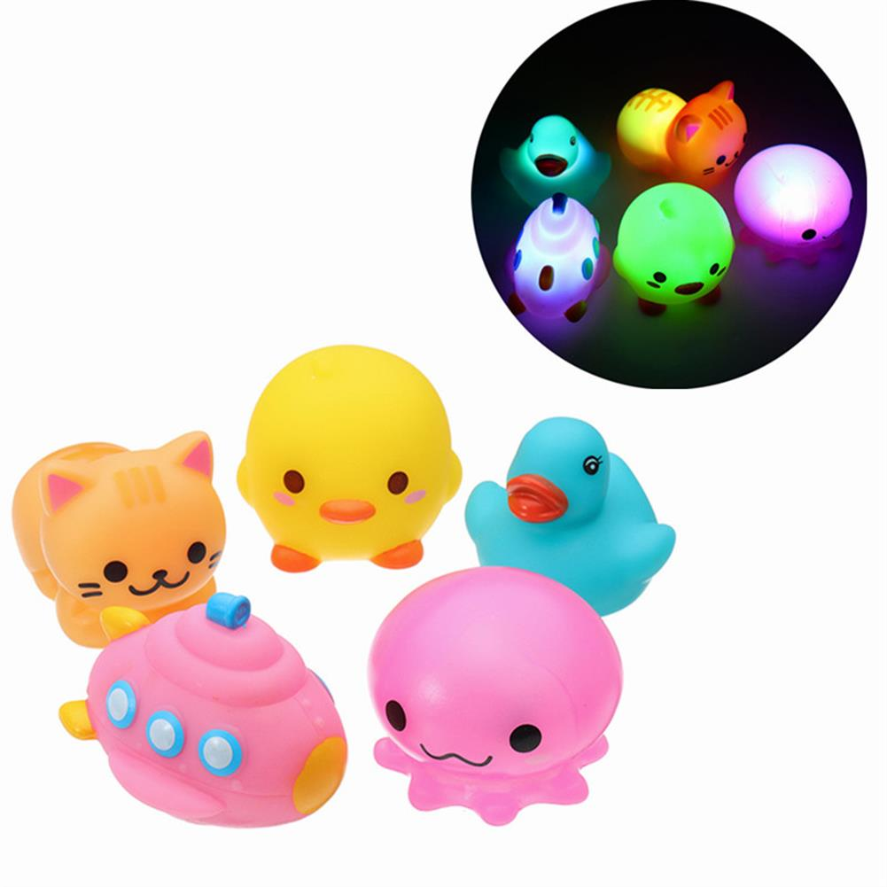 beach-play 5PCS Baby Bath Toys Rubber Duck Animals Boat Kids Water Toys Squeeze Flash Bathroom Beach Play Toys HOB1280246