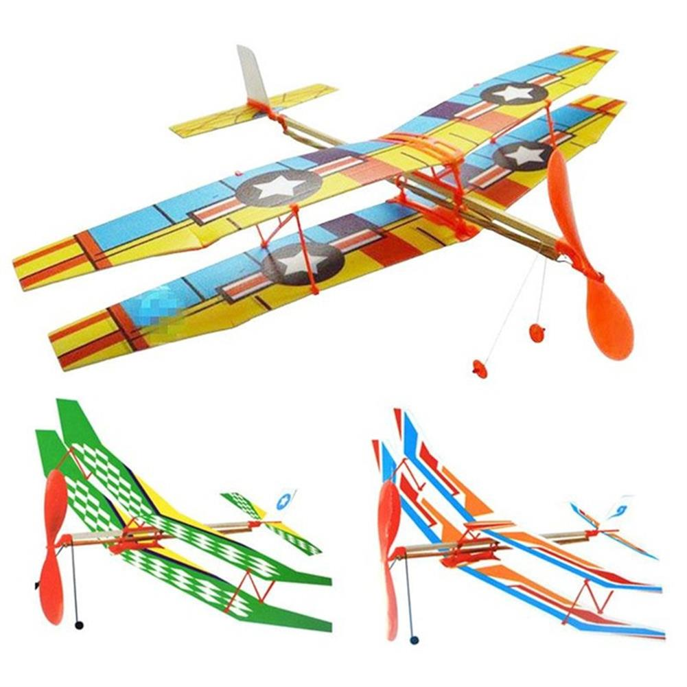 plane-parachute-toys DIY Hand Throw Flying Plane Toy Elastic Rubber Band Powered Airplane Assembly Model Toys HOB1307321