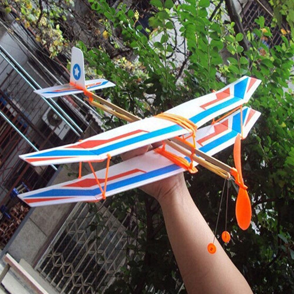 plane-parachute-toys DIY Hand Throw Flying Plane Toy Elastic Rubber Band Powered Airplane Assembly Model Toys HOB1307321 1