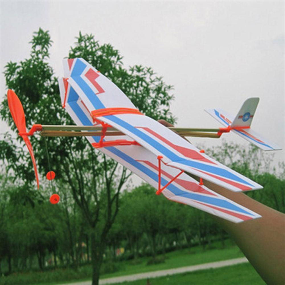 plane-parachute-toys DIY Hand Throw Flying Plane Toy Elastic Rubber Band Powered Airplane Assembly Model Toys HOB1307321 2