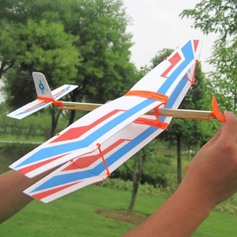 plane-parachute-toys DIY Hand Throw Flying Plane Toy Elastic Rubber Band Powered Airplane Assembly Model Toys HOB1307321 3
