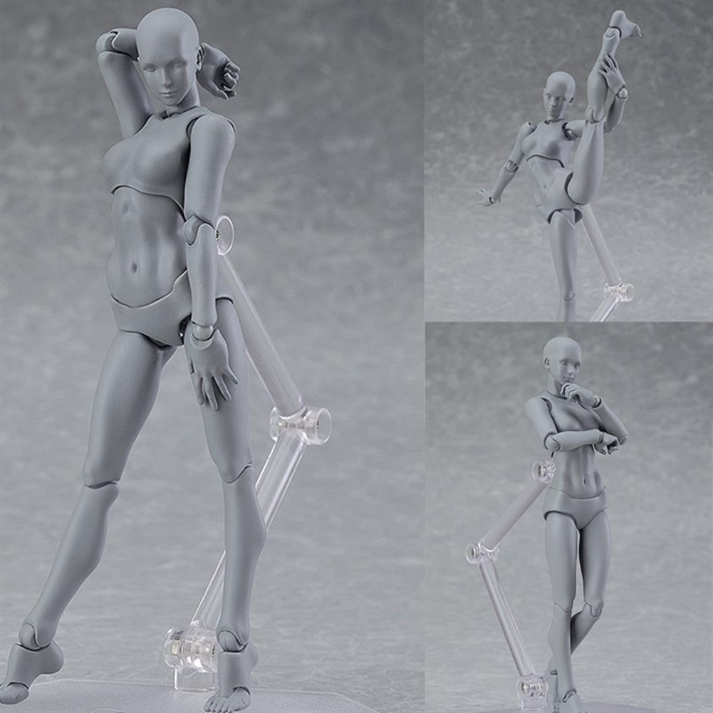dolls-action-figure Figma Archetype Action Figure Doll PVC M2.0 Body Female Grey Color Model Doll for Decoration HOB1311452