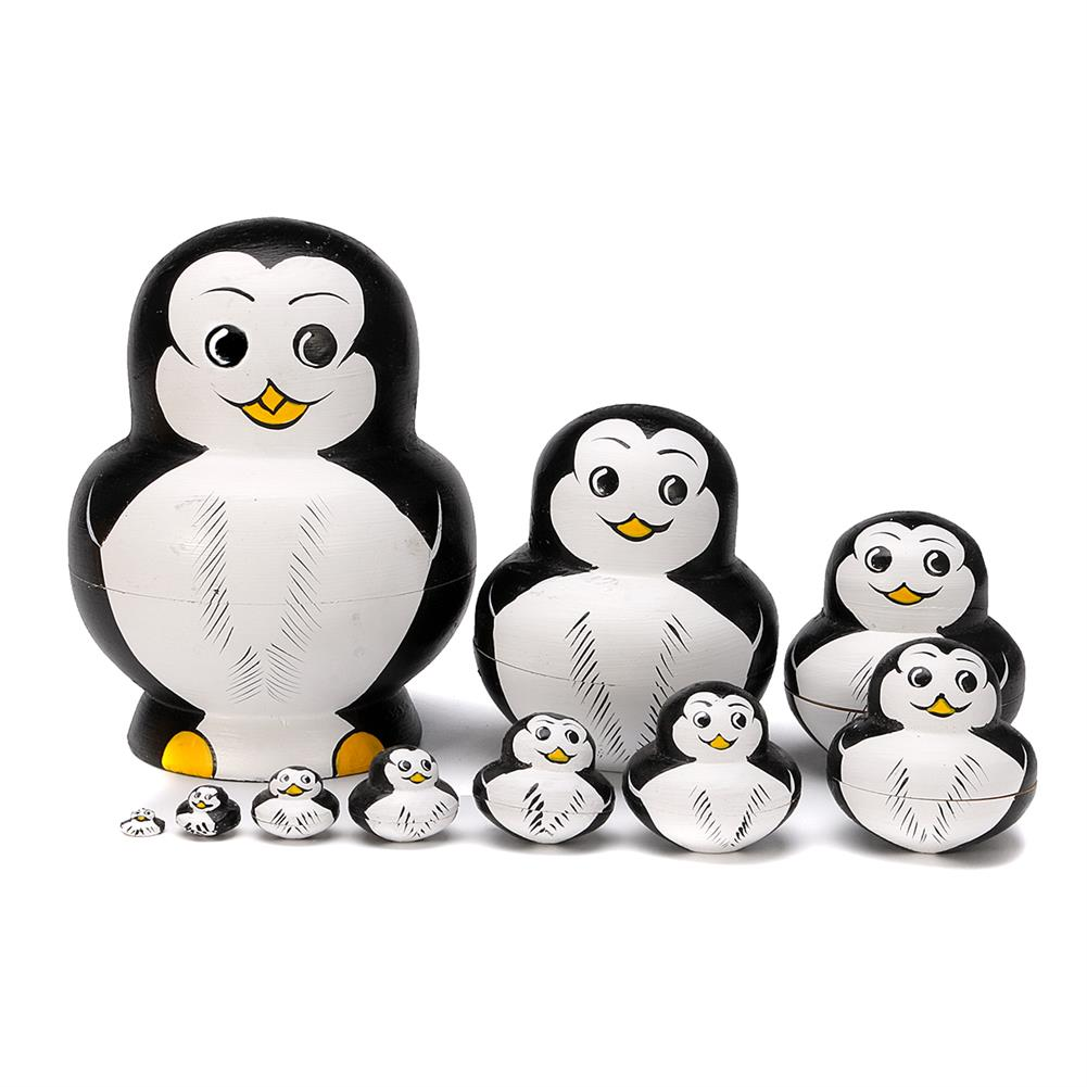 dolls-action-figure 10 Pcs Wooden Penguin Animal Hand Painted Russian Nesting Doll Decor Gifts Toy HOB1318239 3