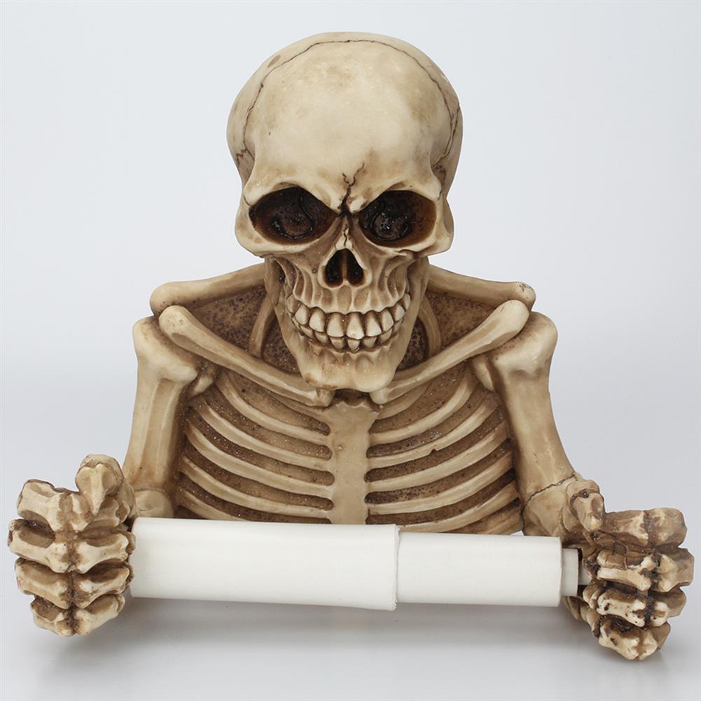 paper-art-drawing Skull Paper Roll Holder Wall Mount Toilet Bone Dry Skeleton Bathroom Decorations Paper Shelf Holder HOB1322605