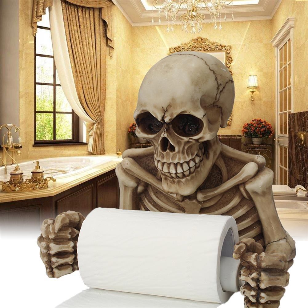 paper-art-drawing Skull Paper Roll Holder Wall Mount Toilet Bone Dry Skeleton Bathroom Decorations Paper Shelf Holder HOB1322605 1