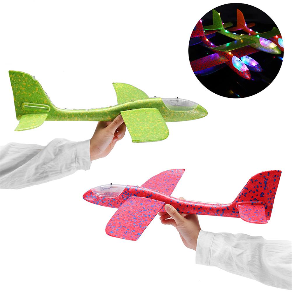 plane-parachute-toys 48cm 19'' Hand Launch Throwing Aircraft Airplane DIY inertial EPP Plane Toy with LED Light HOB1334592