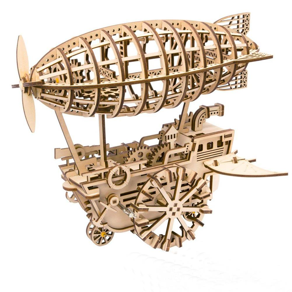 puzzle-game-toys 3D Wooden Puzzle Moveable Air Vehicle Mechanical Gears Airship Airplane Model Kit DIY Engineering Set HOB1344107
