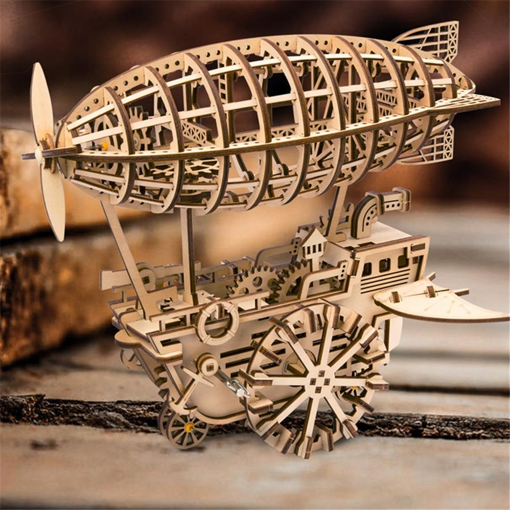 puzzle-game-toys 3D Wooden Puzzle Moveable Air Vehicle Mechanical Gears Airship Airplane Model Kit DIY Engineering Set HOB1344107 1