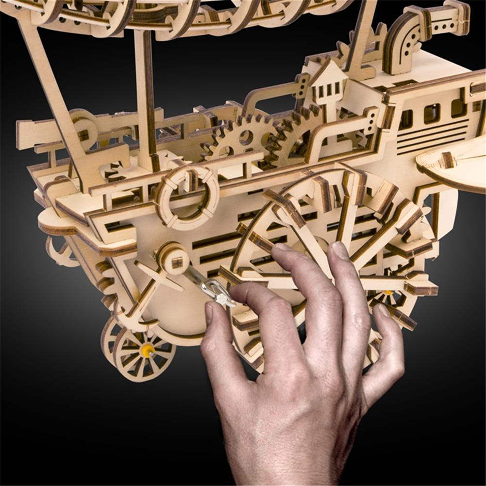 puzzle-game-toys 3D Wooden Puzzle Moveable Air Vehicle Mechanical Gears Airship Airplane Model Kit DIY Engineering Set HOB1344107 2
