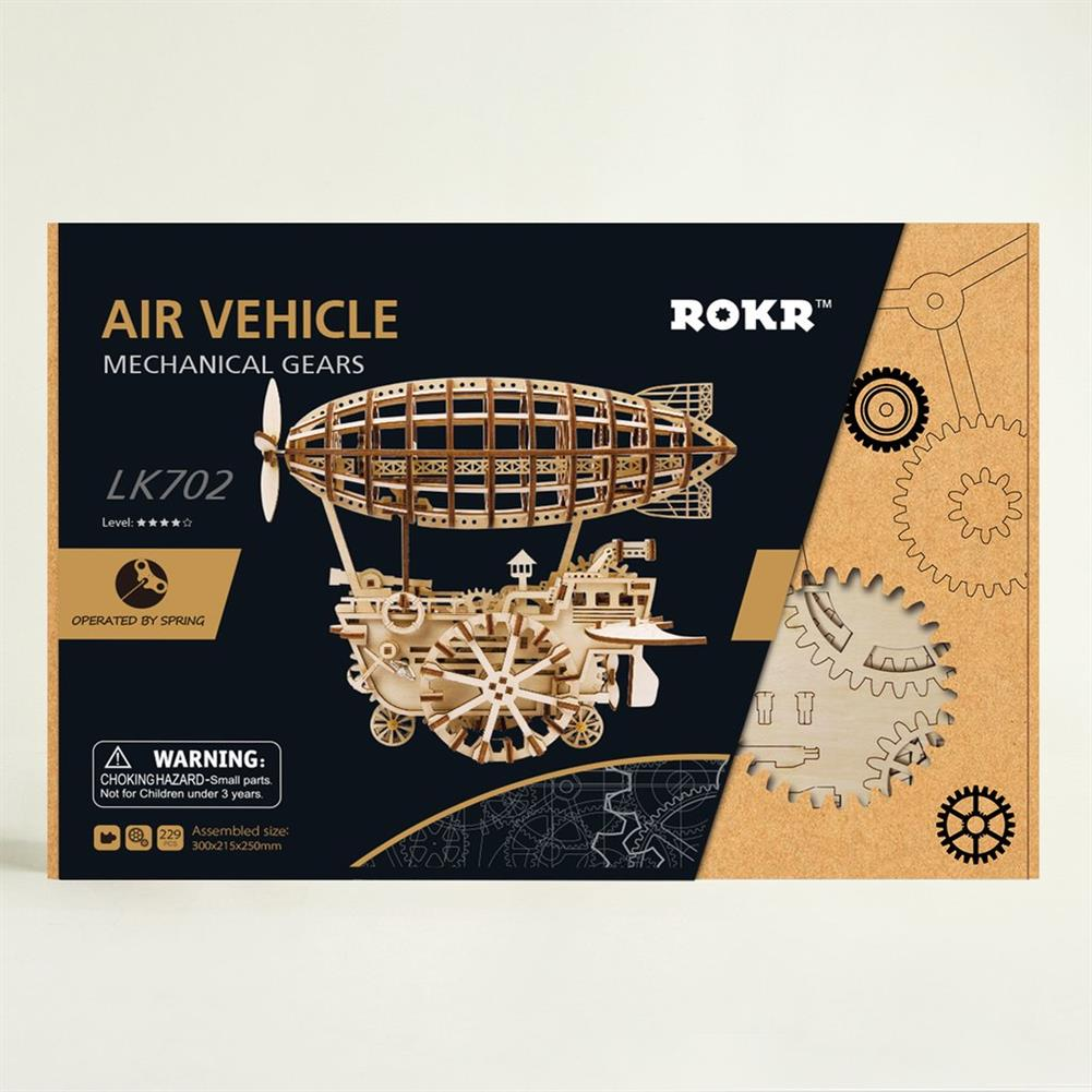 puzzle-game-toys 3D Wooden Puzzle Moveable Air Vehicle Mechanical Gears Airship Airplane Model Kit DIY Engineering Set HOB1344107 3