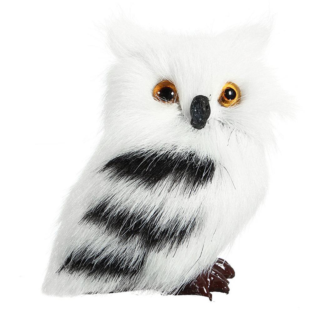 decoration 2 PCS Owl White Black Furry Christmas Ornament Decoration Toys Adornment Simulation HOB1349800
