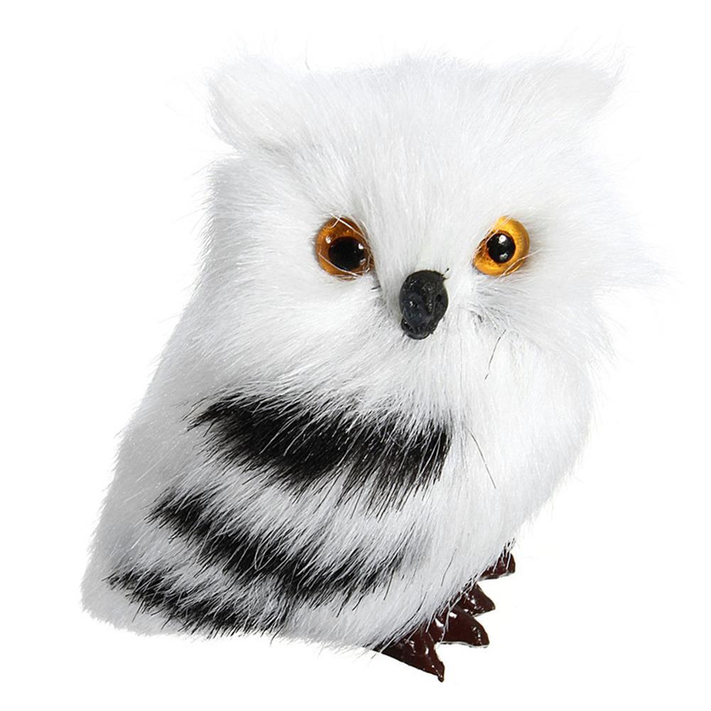 decoration 2 PCS Owl White Black Furry Christmas Ornament Decoration Toys Adornment Simulation HOB1349800 1