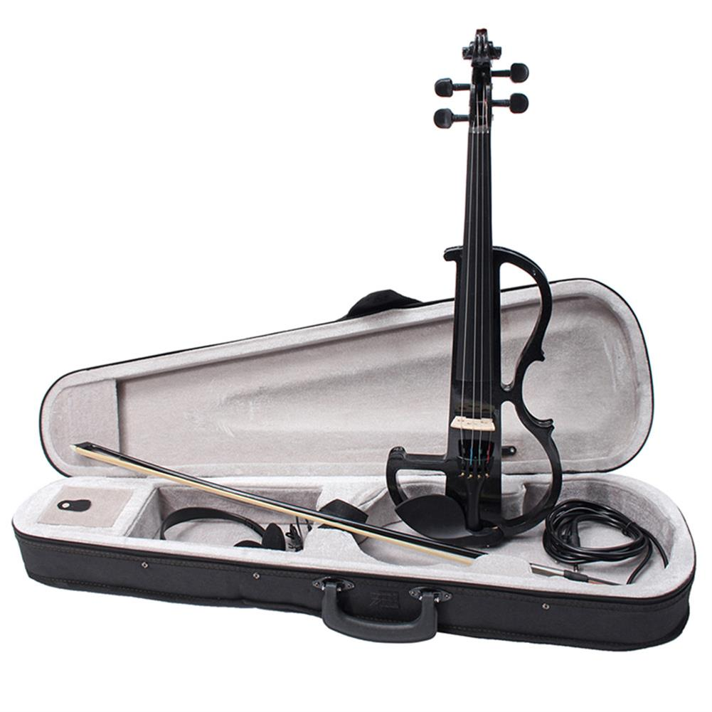 violin Black 4/4 Full Size Electric Violin Student Fiddle Case Bow Headphone Cable Set HOB1353768