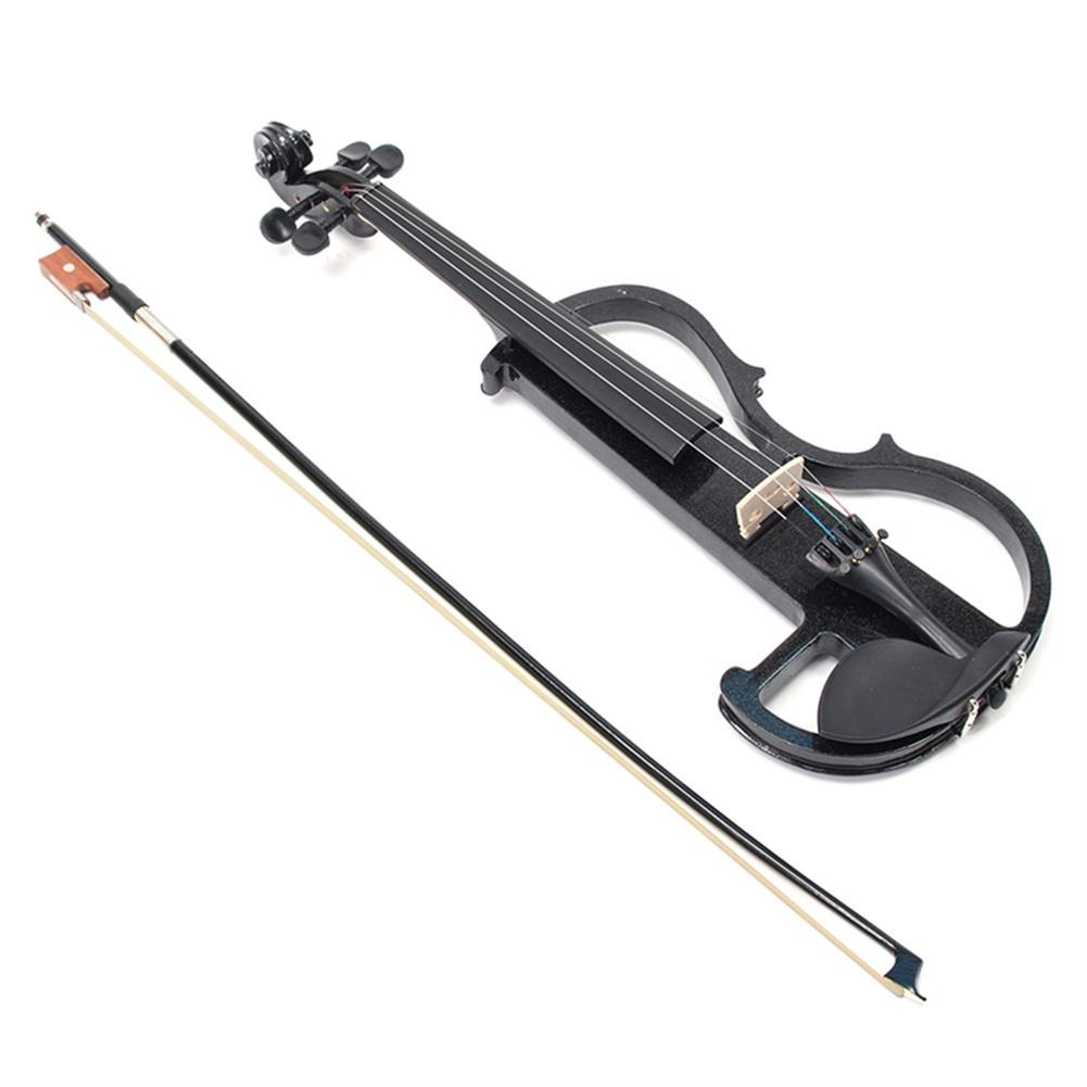 violin Black 4/4 Full Size Electric Violin Student Fiddle Case Bow Headphone Cable Set HOB1353768 1