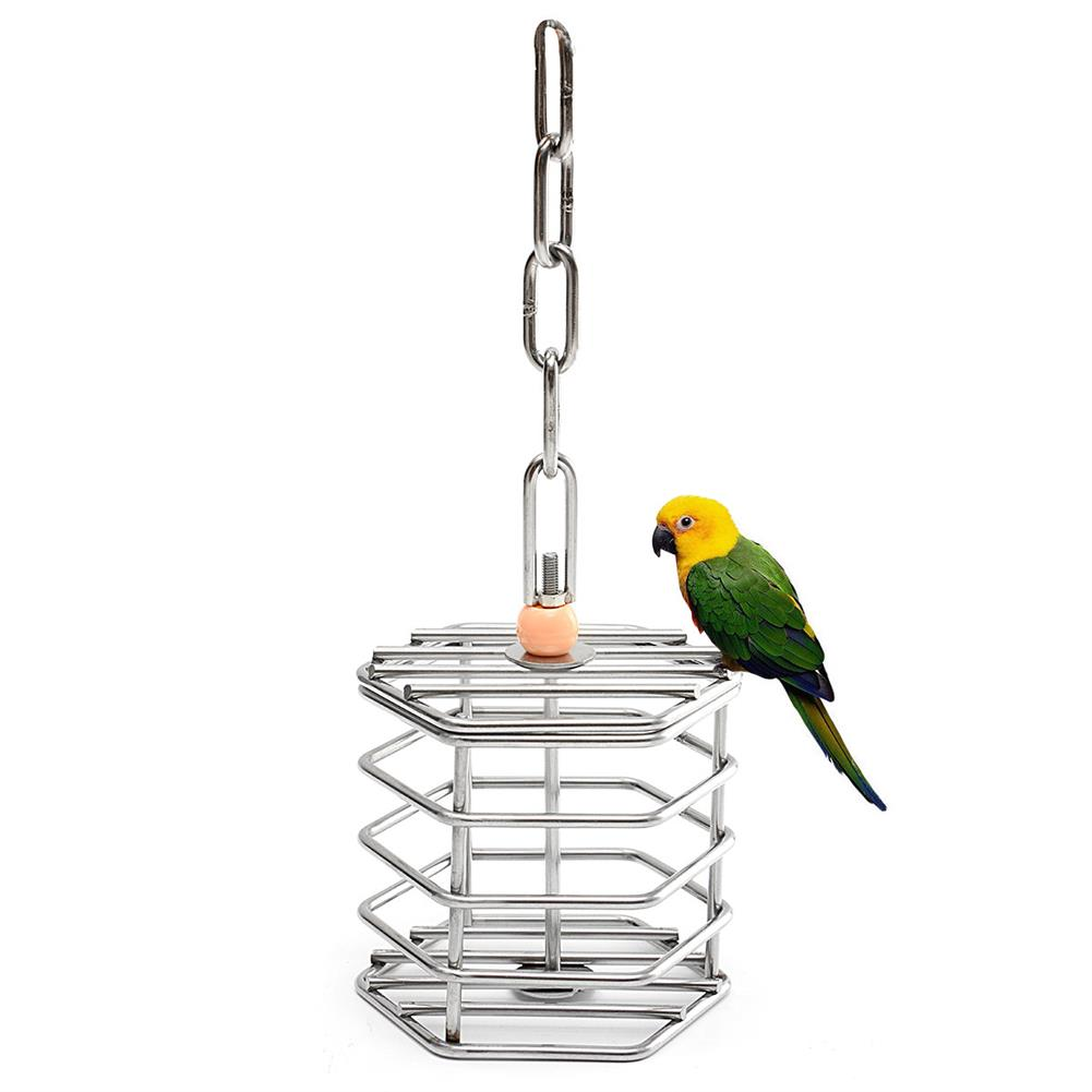puzzle-game-toys Stainless Steel Pet Bird Parrot foraging Cage Pigeon Macaw Feeder Hanging Entertainment Toys HOB1355322