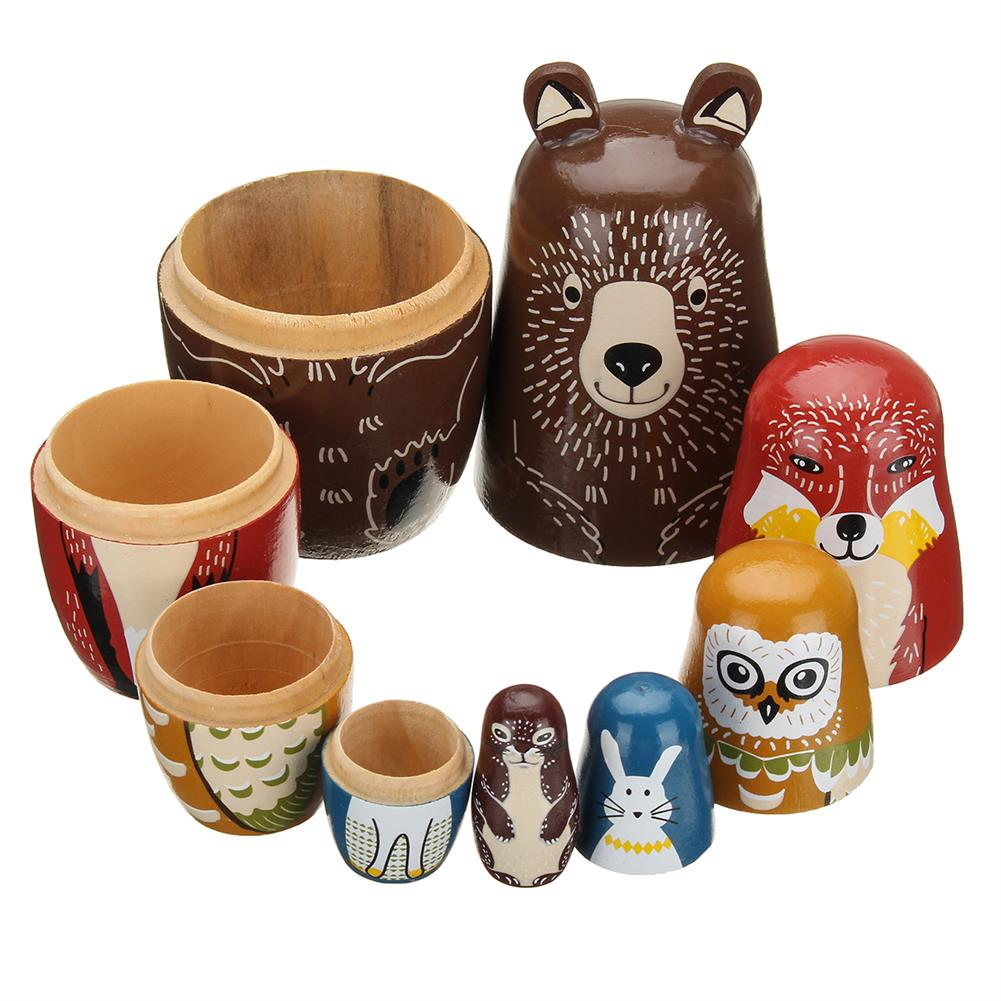 dolls-action-figure 5 Nesting Dolls Wooden Aniimal Bear Russian Doll Matryoshka Toy Decor Kid Gift HOB1360442