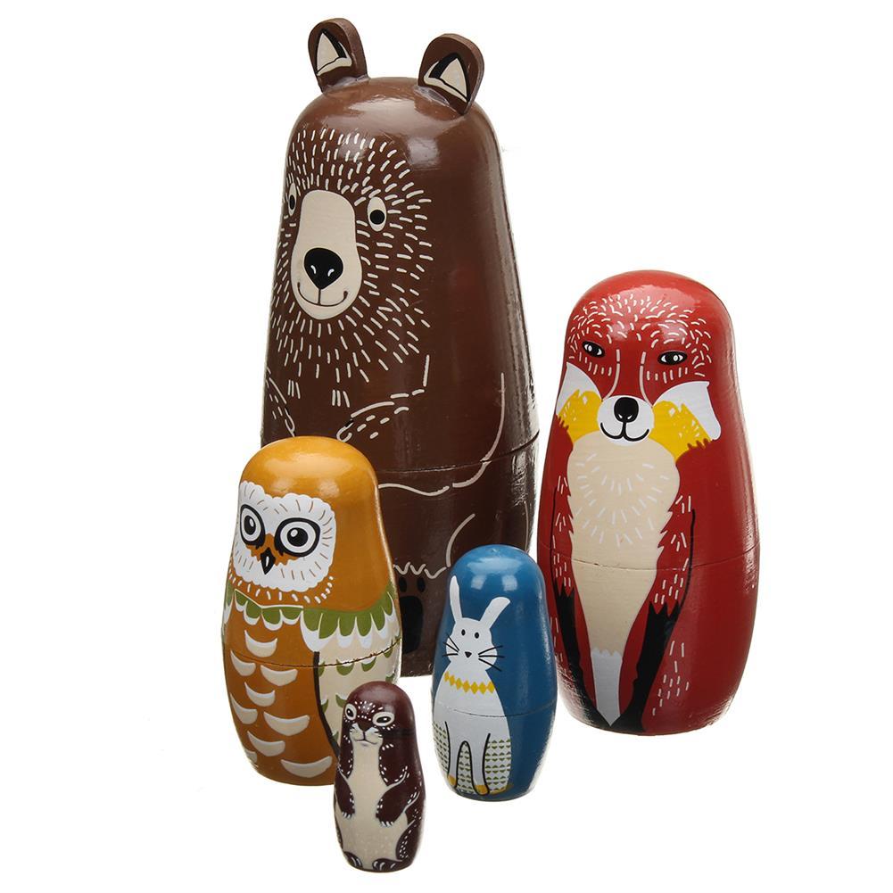 dolls-action-figure 5 Nesting Dolls Wooden Aniimal Bear Russian Doll Matryoshka Toy Decor Kid Gift HOB1360442 1