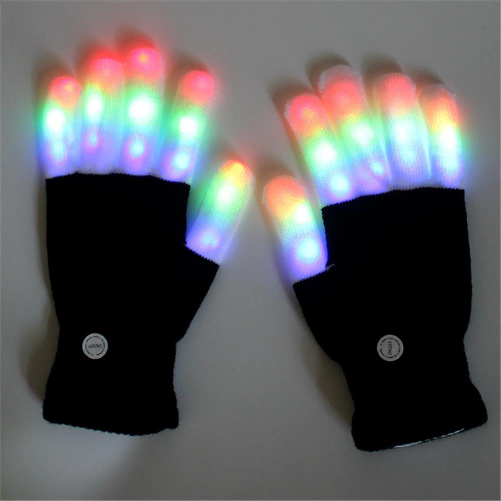 mask-costumes Halloween Colourful Light Glove Dancing Stage LED Palm Light Up Finger Tip Party Supplies HOB1368004