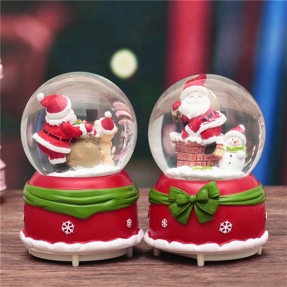 decoration 18CM Christmas Globe Santa Music Box Snowing Bow-knot Rotating Crystal Ball Decor Gift HOB1379580 1