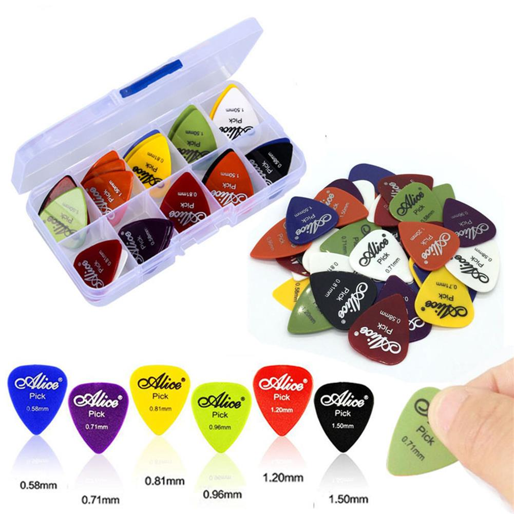guitar-accessories Zebra 50Pcs Electric Guitar Thumb Finger Picks with Case 0.58/0.71/0.81/0.96/1.20/1.50mm Thickness HOB1384850