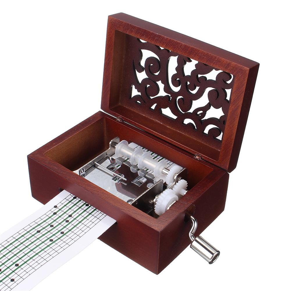 music-box 15 Tone DIY Hand Cranked Carved Music Box Classic Box with Hole Puncher 30 Pcs Paper Tapes HOB1392498